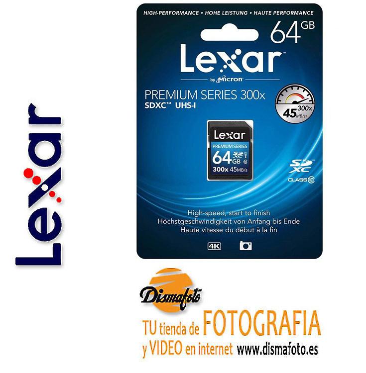 LEXAR TARJETA SDHC 64GB 300X CLASS 10 PREMIUM II